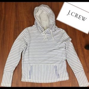 J. CREW BLUE & WHITE STRIPED HOODED SWEATER